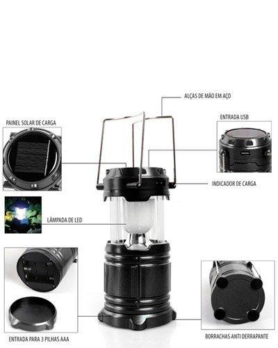 Brindes Personalizados - Lanterna Solar Recarregável Personalizada
