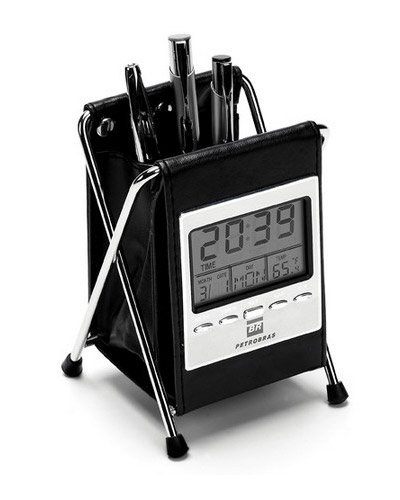 Brindes Personalizados - Porta Canetas com Relógio de Mesa Personalizado